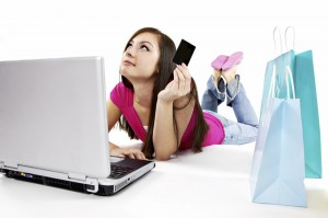 woman on online shopping